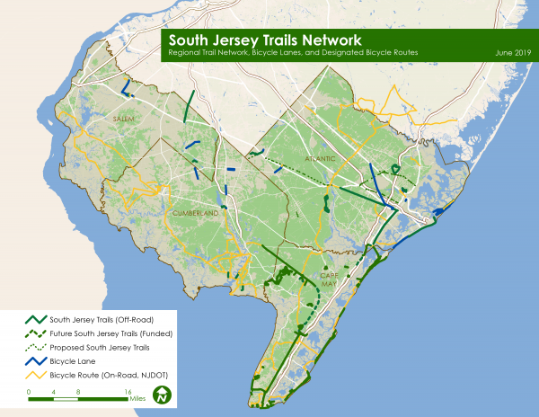 Map of South Jersey Trails Network